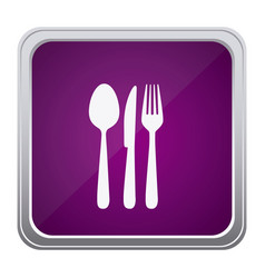 purple emblem metal cutlery icon vector image