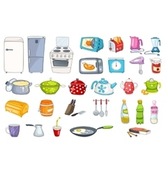 Set of household appliances and kitchenware vector image vector image