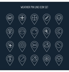 Weather line map pins vector