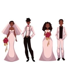 African American just married couple set of vector image vector image