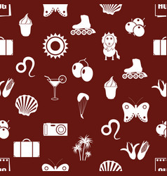 august month theme set of simple icons seamless vector image vector image