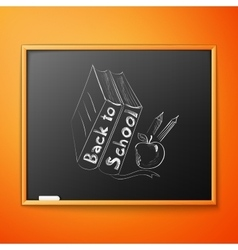 Back to school written on blackboard vector image vector image