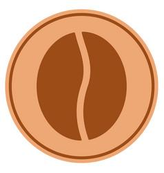 Coffee bean bronze coin vector