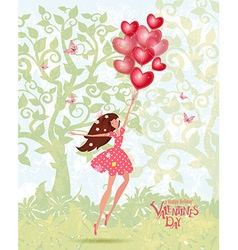 Cute girl with valentines balloons vector image
