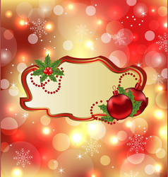 Greeting elegant card with mistletoe and Christmas vector image
