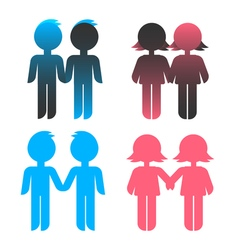 Icon set blue stick figure man male and pink women vector image vector image