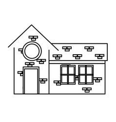 outlined house rounded window brick structure vector image