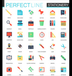 set of flat stationery icons vector image vector image