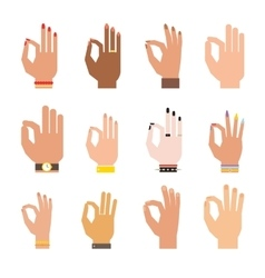 Silhouette hands showing symbol of all ok finger vector image