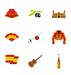 spanish elements icons set flat style vector image vector image