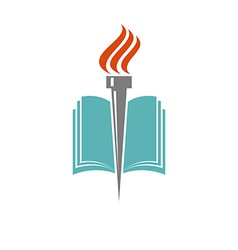 Book and torch education or library logo vector image vector image