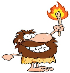 happy caveman holding up a fiery torch vector image vector image
