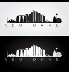 abu dhabi skyline and landmarks silhouette vector image vector image