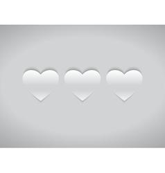 Three White Hearts vector image