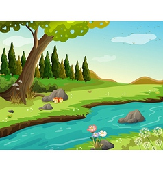 A river at the forest vector