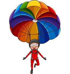 A simple sketch of a girl with a parachute vector