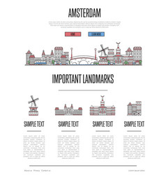 amsterdam travel infographics in linear style vector image