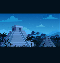 Ancient mayan pyramids in vector