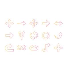 Arrows gradient style set icons design vector