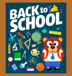 Back to school background with bear vector