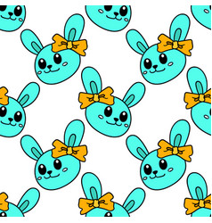 banded female rabbit seamless pattern textile vector image