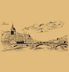 beige hand drawing paris 5 vector image