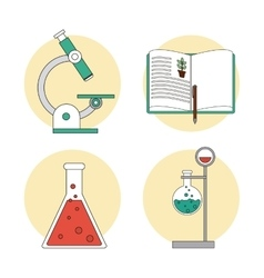 Biology design lab icon flat vector