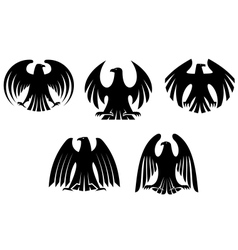 Black heraldic eagles vector image