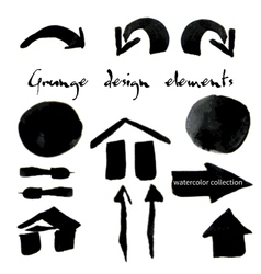 Black watercolor grunge arrows collection vector image