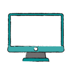 Blank screen computer monitor vector
