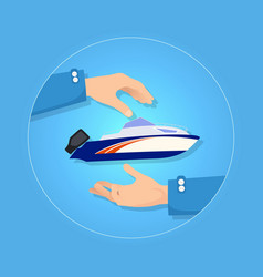 blue and orange speed motorboat on blue background vector image