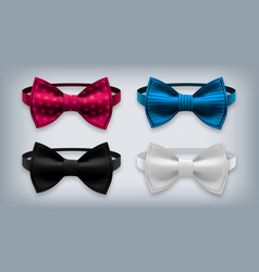 Bow tie set realistic knot silk bow vector