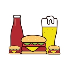 Burger beer sauce drawing in line vector