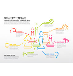 business strategy infographic template with thin vector image