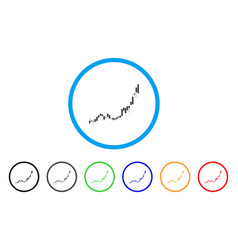 candlestick chart growth acceleration rounded icon vector image