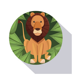 circular frame shading of poster closeup lion in vector image