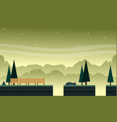 Collection hill with tree scenery bakground game vector