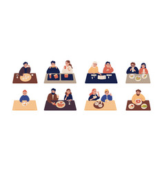 collection of cute people sitting at tables and vector image