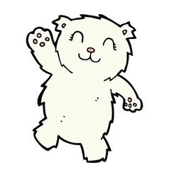 Comic cartoon waving polar bear vector
