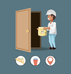 courier delivery service with set icons icon vector image