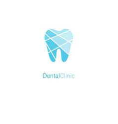 dental clinic stylized tooth blue logo concept vector image