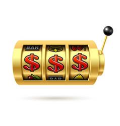 Dollars jackpot on gold slot machine vector