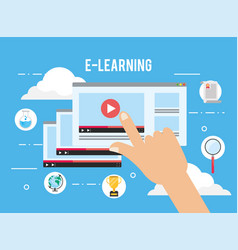 Elearning website video with study certificate vector