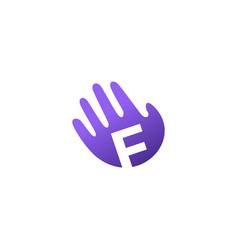 f letter hand palm hello logo icon vector image
