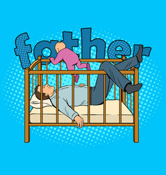 father sleeps and baby escape pop art vector image