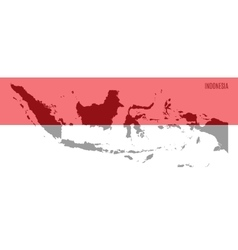 Flag and map of indonesia vector