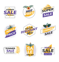 Flat design origami summer sale labels 5 vector