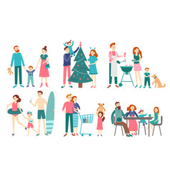 flat family people father mother and kids vector image