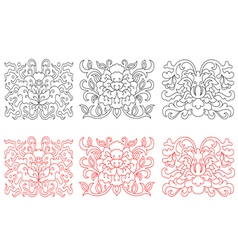 Floral embellishments in retro oriental style vector image