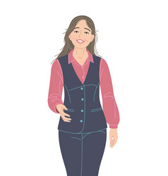 Friendly young woman flat vector